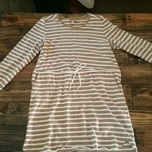 Merona tan and cream striped dress with front tie